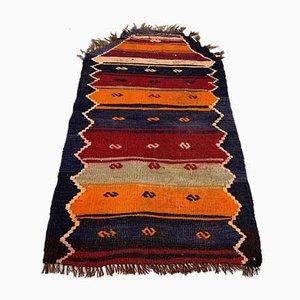 Small Turkish Red, Black & Orange Kilim Carpet, 1950s
