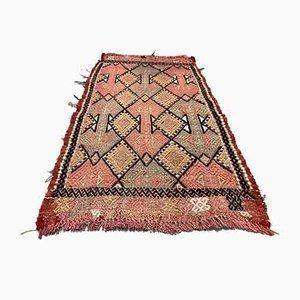 Small Turkish Pink, Beige & Black Wool Kilim Carpet, 1950s