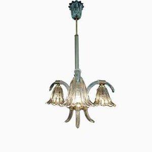 Lampada da soffitto a tre braccia di Ercole Barovier per Barovier & Toso, anni '30
