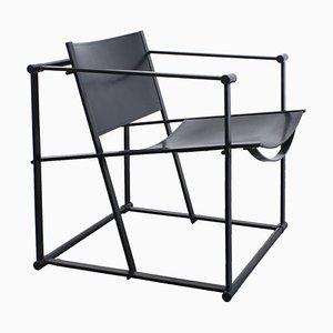 FM60 Black Leather Cubic Chair by Radboud Van Beekum for Pastoe, 1980s
