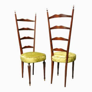 Italian High Back Chiavari Chairs, 1950s, Set of 2