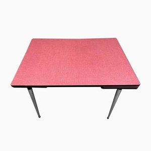 Extendable Red Formica Dining Table, 1950s