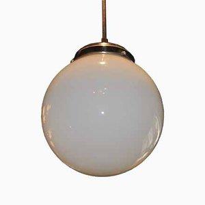 Art Deco White Opaline Glass Ceiling Lamp, 1920s