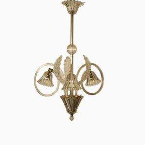 Lampada da soffitto in vetro di Murano a 3 braccia di Ercole Barovier per Barovier & Toso, anni '40