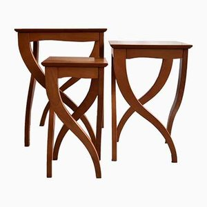 Vintage Italian Birds Eye Cherrywood Nesting Tables, Set of 3