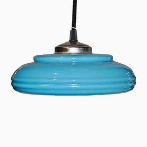 Art Deco Blue Opaline Glass Ceiling Lamp, 1920s
