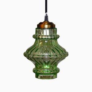 Lampada da soffitto in vetro verde, anni '60
