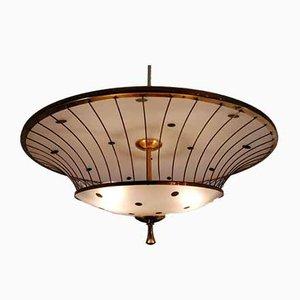 Deckenlampe aus Milchglas & Messing von Angelo Lelli für Arredoluce, 1950er