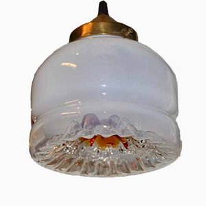 White & Gold Murano Glass Ceiling Lamp, 1960s