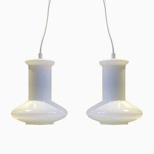 White Opal Glass Ceiling Lamps from Holmegaard, 1970s, Set of 2