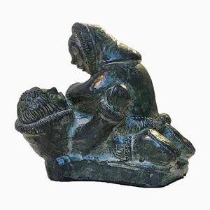 Wrestling Eskimos aus geschnitztem Stein von A Wolf für The Wolf Sculptures, 1970er