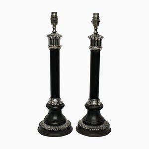 Mid-Century Bronze and Silver Plated Column Table Lamps, Set of 2