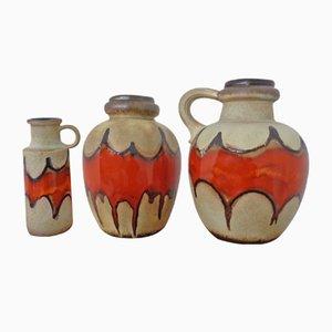 Große Fat Lava Keramik Vasen von Scheurich, 1970er, 3er Set