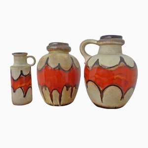 Large Fat Lava Ceramic Vases from Scheurich, 1970s, Set of 3
