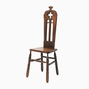 French Gothic Revival Oak Side Chair, 1920s
