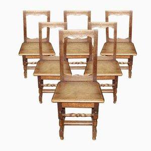 Antike Lothringen Stühle aus Eiche, 6er Set
