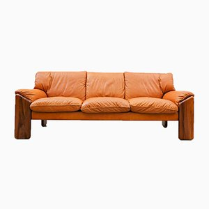 Cognac Leather Sofa by Sapporo for Mobil Girgi, 1970s