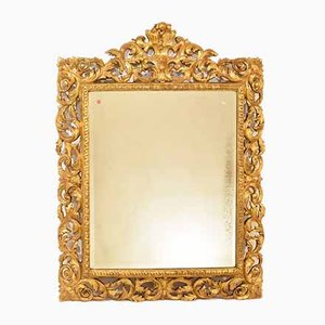 Antique Carved Mirror with Gold Leaf Frame, Late 19th Century