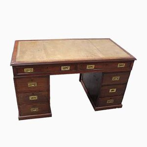 Mahogany Pedestal Desk with Brown Leather Top, 1940s