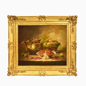 Still Life Art, Antique Painting, Ribes and Prunes, Oil Painting on Canvas, 19th Century.