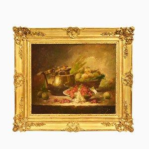 Still Life Art, Pittura antica, Ribes and Prunes, Olio su tela, XIX secolo