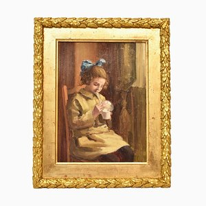 Portrait Painting, Child Playing, Oil Painting, Early 20th Century
