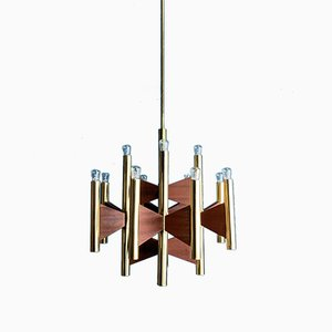 Brass & Teak 12-Light Chandelier, 1960s