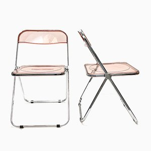 Mid-Century Lucite and Chrome Pila Folding Chairs by Giancarlo Piretti for Castelli / Anonima Castelli, Set of 6