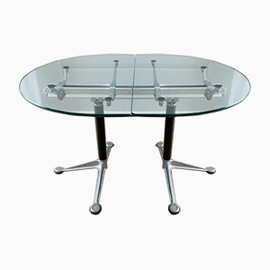 Glass & Aluminium Table by Bruce Burdick for Herman Miller, 1980s