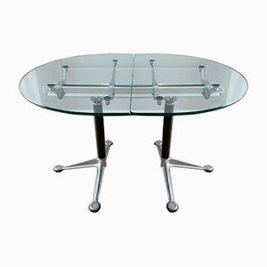 Tavolo in alluminio e vetro di Bruce Burdick per Herman Miller, anni '80