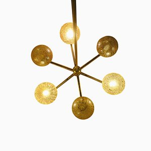 Italian Gold-Plated Brass Chandelier with 6 Globes by Angelo Brotto for Esperia, 1970s