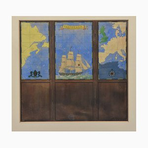 Watercolour Drawing of a Three Fold Screen Nautical Map by Kenneth Stevens Macintire