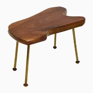 Mid-Century Walnut & Brass Coffee Table in the Style of Carl Auböck, 1950s