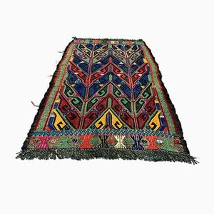 Small Turkish Blue, Red & Green Wool Kilim Carpet, 1950s