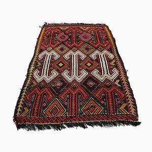 Small Turkish Black, Red & Green Wool Kilim Carpet, 1950s