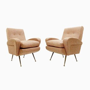 Italian Armchairs with New Chanel Upholstery, 1960s, Set of 2