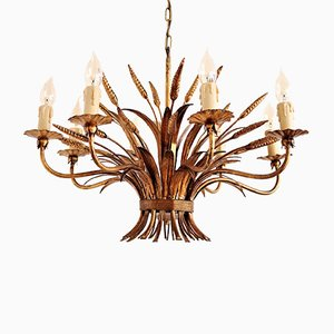Vintage Florentine Gilded Metal Chandelier with Wheat Ears & Leaves from Hans Kögl, 1960s