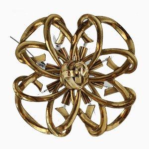 Hollywood Regency Style Flower-Shaped Brass Chandelier, 1970s