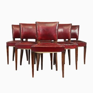 French Red Leather Dining Chairs, 1920s, Set of 6