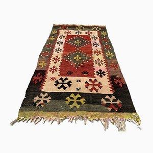 Small Turkish Red, Beige & Black Wool Kilim Carpet, 1950s