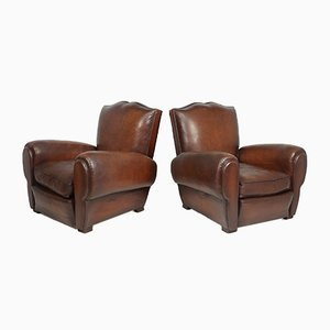 French Moustache Back Club Chairs, 1940s, Set of 2