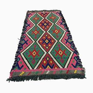 Small Turkish Pink, Red & Green Wool Kilim Carpet, 1950s