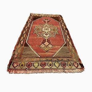 Small Turkish Brown, Red & Beige Wool Kilim Carpet, 1950s
