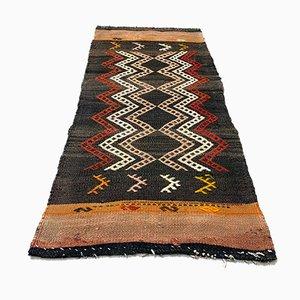 Small Turkish Black, Red & Beige Wool Kilim Carpet, 1950s