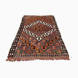 Small Turkish Black, Red & Brown Wool Kilim Carpet, 1950s