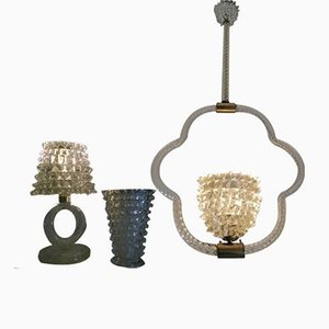 Rostrato Glass Table Lamp, Ceiling Lamp & Vase by Ercole Barovier for Barovier & Toso, 1940s, Set of 3