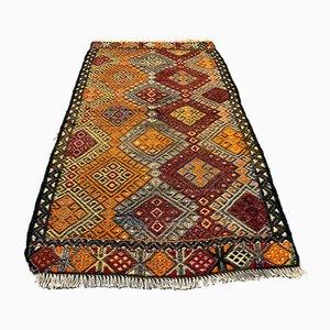 Small Turkish Gold, Black & Red Wool Kilim Carpet, 1950s