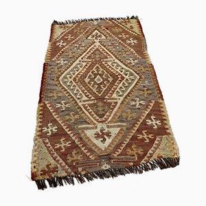 Small Turkish Brown & Beige Wool Kilim Carpet, 1950s