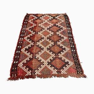 Small Turkish Red, Brown & Gold Wool Kilim Carpet, 1950s