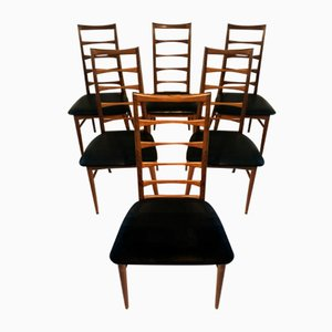 Teak Ladderback Lis Chairs by Niels Koefoed for Koefoeds Hornslet, 1960s, Set of 6